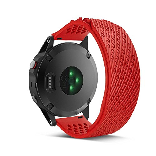 Yooside 22mm Replacement Watch Band Belt bracelet strap Wristband silicone new For Garmin Fenix 5/forerunner 935 (red) by Yooside