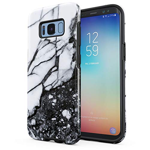 Crystal White Marble & Granite Print Samsung Galaxy S8 Plus Silicone Inner/Outer Hard PC Shell Hybrid Armor Protective Case Cover