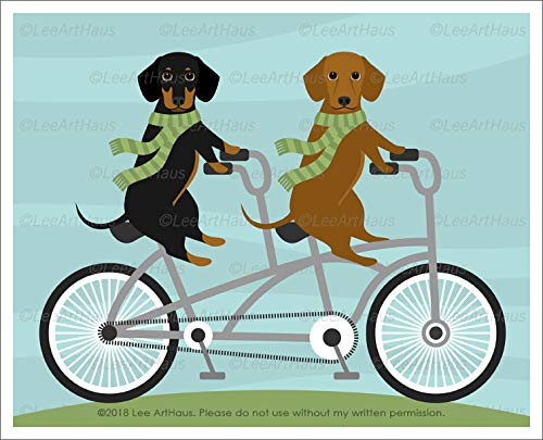 601D - Two Dachshund Dogs on Tandem Bicycle UNFRAMED Wall Art Print by Lee ArtHaus