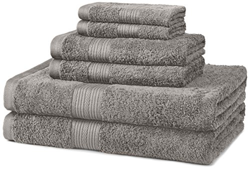 AmazonBasics 6-Piece Fade-Resistant Bath Towel Set - Grey (Set 6 Piece Wash)