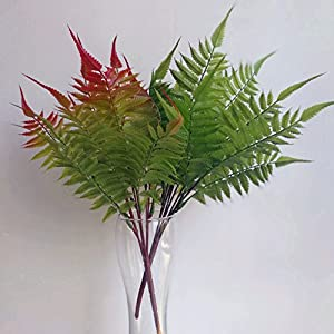 5p Phoenix Tail Fern Leaf Bunch Artificial Real Touch Feeling Ferns Plant Soft Plastic Greenery for Green Wall Decoration Grass 63