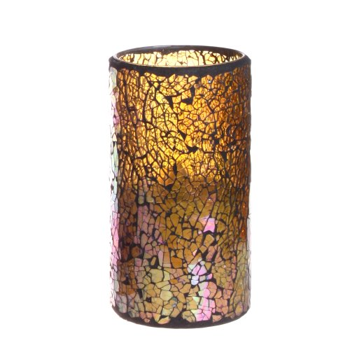 Home impressions Crack Pattern Mosaic Glass with Flameless Led Candle with Timer, Light Yellow, 3 x 6""