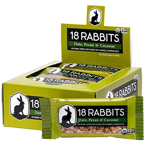 - 18 Rabbits Organic Gluten Free Granola Bar, Date, Pecan & Coconut, 1.6 Ounce (Pack of 12)