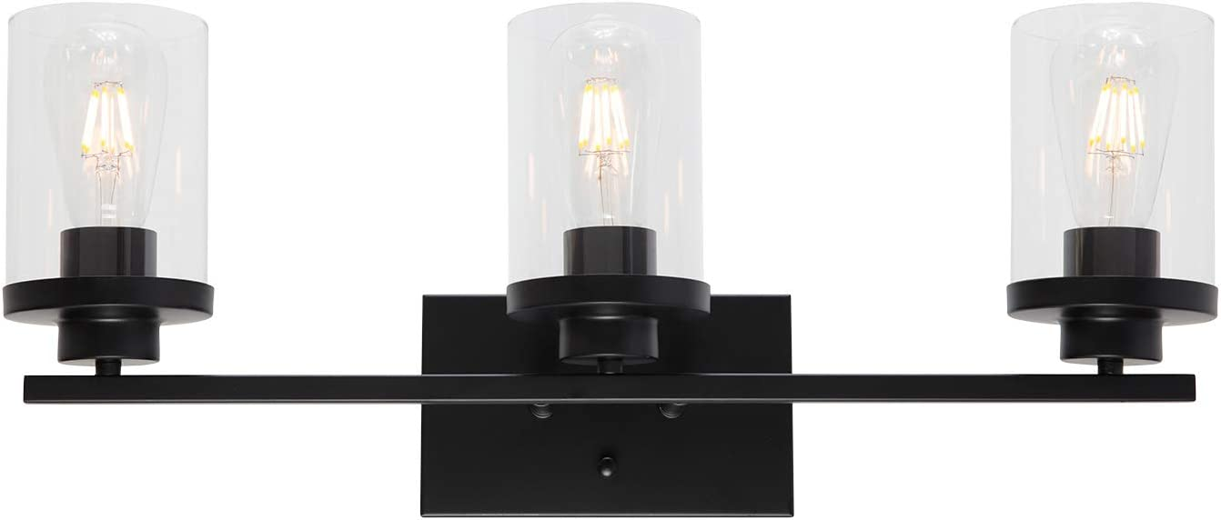 ELUZE Modern Vanity Light, 3-Light Bathroom Lighting Black Finish with Clear Glass Shades Wall Lighting Fixtures for Bedroom Vanity Table Powder Room Kitchen Office Foyer and Hallway