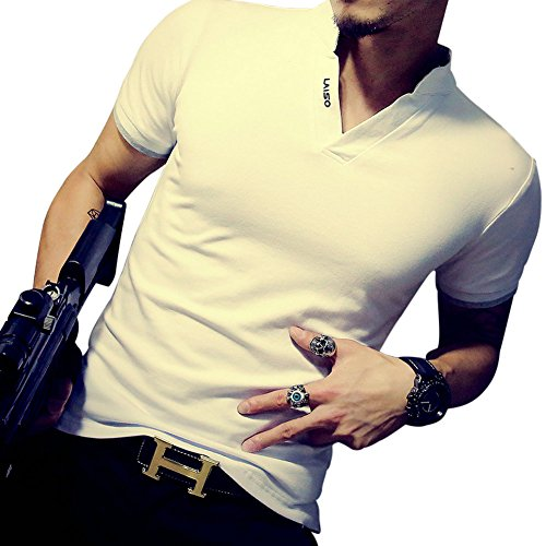LOGEEYAR Mens Short-Sleeve Slim Fit Cotton Pique Polo Shirt (white XL)