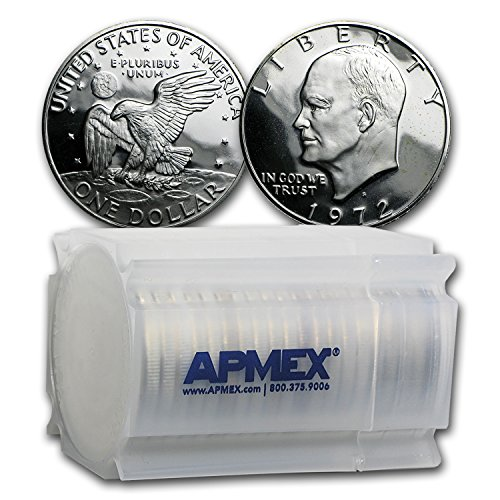 Dollar Eisenhower Roll (1972 S 40% Silver Eisenhower Dollars 20-Coin Roll Gem Proof Dollar About Uncirculated)