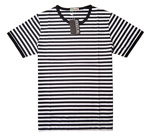 [Mens Short Sleeve Crew Neck Cotton Stripe Tee Shirt,Black,Medium / label XL] (Pugsley Addams Costume)