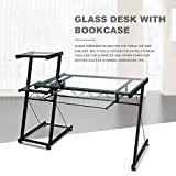 Merax Glass Desk Top with Bookcase Home Workstation Office Metal Corner Desk Computer PC Glass Writing Table (Clear Glass)