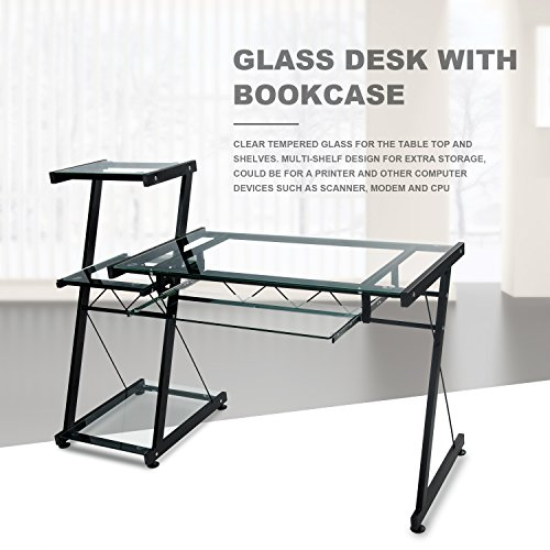 Merax Glass Desk Top with Bookcase Home Workstation Office Metal Corner Desk Computer PC Glass Writing Table (Clear Glass) by Merax