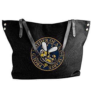 SeaBee Mother - Navy Seabee Women Canvas Shoulder Bag Handbags Tote Bag Casual Shopping Bag from Smiley World