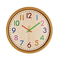 VIRGIN FOREST 12-Inch Round Classic Clock Retro Non Ticking Quartz Decorative Wall Clock (Colorful)