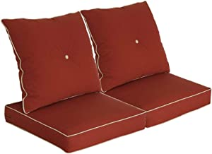 Bossima Patio Furniture Cushions for Deep Seat and Loveseat, Outdoor Water Repellent Fabric, High Back Design, Brick Red