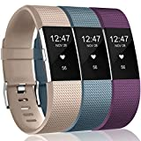 Wepro Bands Replacement Compatible with Fitbit Charge 2 for Women Men Small, 3 Pack Sports Watch Band Strap Wristband Compatible with Fitbit Charge2 HR Fitness Tracker, Beige/Plum/Slate Blue