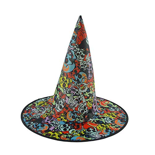 Halloween Skull Witch Hat,Halloween Cap Costume Decor,Skull Color Printing Pattern Party Tiara Hair Dress Accessories Magician Hat Ghost Festival Cosplay Ferformance Props Games for Adults Kids