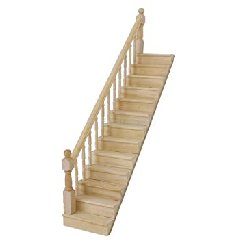 Dolls House Staircase Straight Stair Case W/ Left Hand Rail Pre Assembled