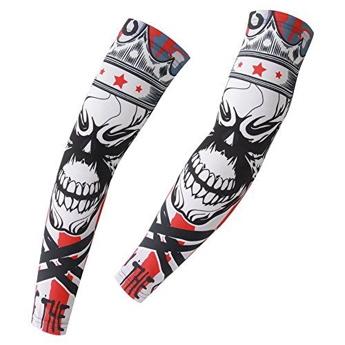 Xinzechen Compression Cycling Arm Warmers Skull King Size ()