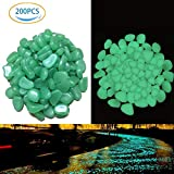 NABLUE 200pcs Glow in the Dark Pebbles for Walkways Décor, Outside Bulk Glow in the Dark Rocks for Outdoor Fairy Garden, Glowing Stones for Driveway, Fish Tank Aquarium Glow Decorations Gravel (5-8mm,Green,280g/9.87oz)