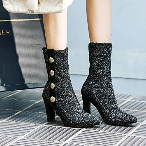 Gruesa Jing De Con Código Zapatos Alto Mujer Botas Silver En IwqEOO