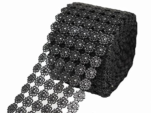 BalsaCircle 4.75-Inch x 30 feet Black Flowers Diamond Mesh Ribbon by the Roll - Wedding Party Favors Decorations DIY Craft 30' Black Mesh