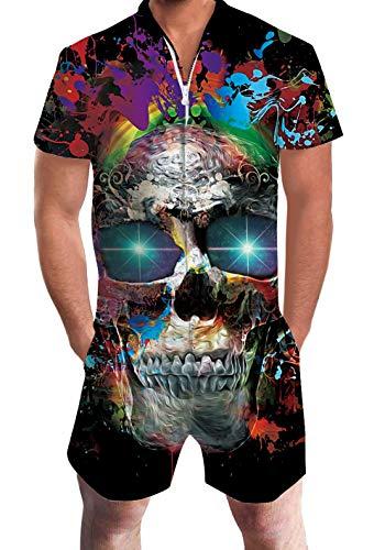 AIDEAONE Men 3D Graphic Skull Jumpsuit Zipper Elastic Waist Short Sleeve Rompers One Piece XXL