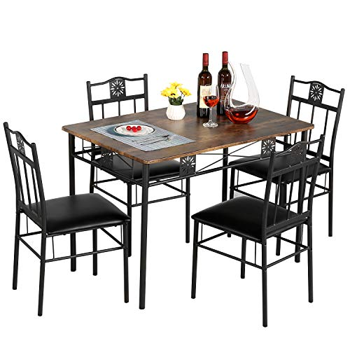 VECELO Dining Table Set with 4 Chairs, Retro Brown