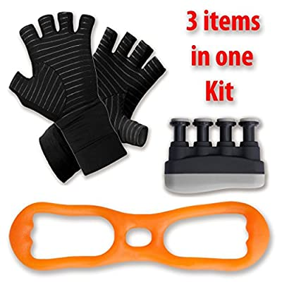 GTP Arthritis Aids - Pain Relieving Copper Gloves - Hand and Finger Strengthener Plus Arm and Wrist Exercise Band - Set Combines Pain Relief With Physical Therapy Tools