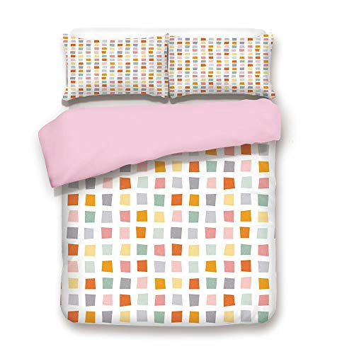 Pink Duvet Cover Set,Queen Size,Squares with Soft Colors Hipster Culture Influenced Pattern Retro Themed Design Decorative,Decorative 3 Piece Bedding Set with 2 Pillow Sham,Best Gift For Girls Women,M