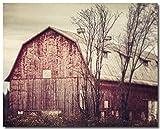 Red Barn Art - Red Barn Photograph - Horizontal Print - Autumn Farm Landscape