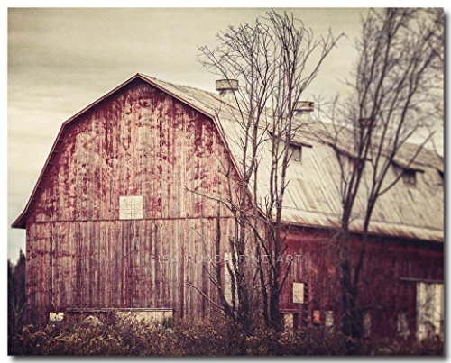 Red Barn Art - Red Barn Photograph - Horizontal Print - Autumn Farm Landscape by Lisa Russo Fine Art Photography