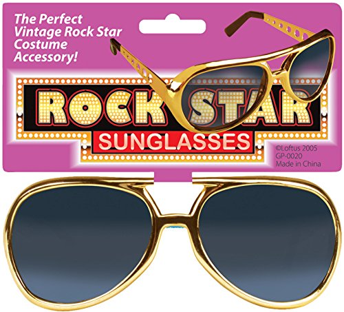 Loftus International Star Power Rock Star Elvis Sunglasses, Gold, One - Earpieces Without Sunglasses