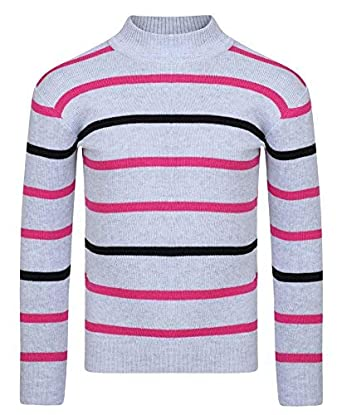 LotMart Girls Striped Pullover Knitted Jumper Kids Long Sleeve Sweater Knit Top