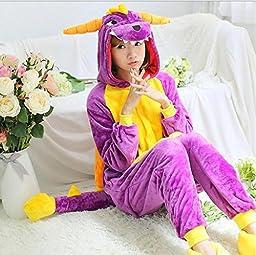 Unisex Adult Pajamas Cosplay Costume Animal Onesie Sleepwear Suit Cartoon Cute Purple Dragon (l)