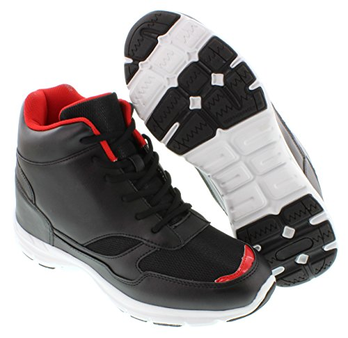 CALTO G3332-4 inches Taller - Height Increasing Elevator Shoes (Black/Red High-top Sneakers) pre order for sale for nice for sale qpyDjm4Zd