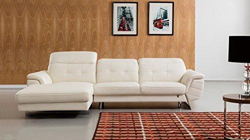 - American Eagle Furniture EK-L085R-W Kentucky Modern Italian Leather Left Facing Sectional, 114