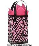 "Black & Clear ZEBRA Plastic Shopper Gift Bag 3 mil HD 5-1/4x3-1/4x8-1/2""- Quantity of 25"