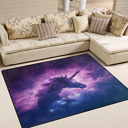 ALAZA Unicorn Silhouette in Galaxy Nebula Cloud Area Rug Rugs for Living Room Bedroom 5'3 x 4'