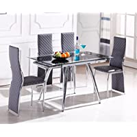 Home Source H-21600 5 Piece Dinette with Glass Extension Top 5, Chrome/Grey
