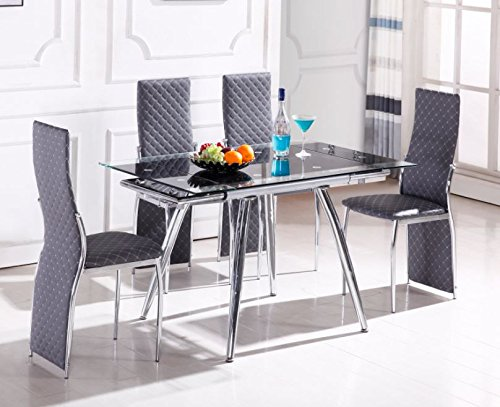 Home Source H-21600 5 Piece Dinette with Glass Extension Top, (Glass Top Dinette)