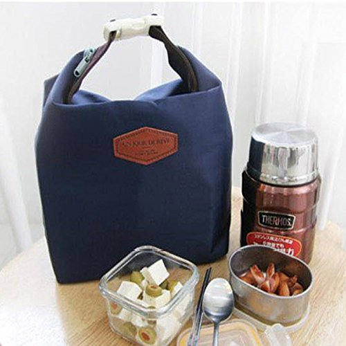HighlifeS Lunch Bag Waterproof Thermal Fashion Cooler Insulated Lunch Box More Colors Portable Tote Storage Picnic Bags (Navy) by HighlifeS (Image #2)