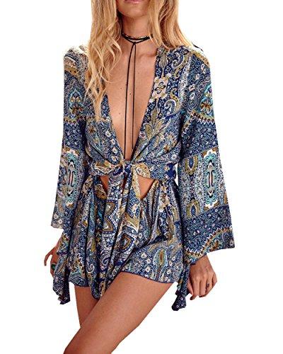 [MorySong Sexy Bohemian Printed Deep V-Neck Long Sleeve Beach Summer Romper M Blue] (Vintage Paisley Print Costumes)