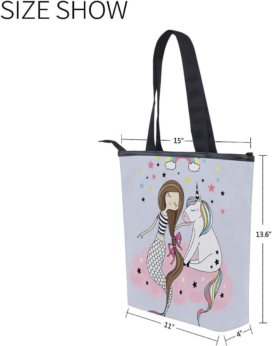 for Women Handbag Unicorn Mermaid with Pockets Tote Bag Canvas