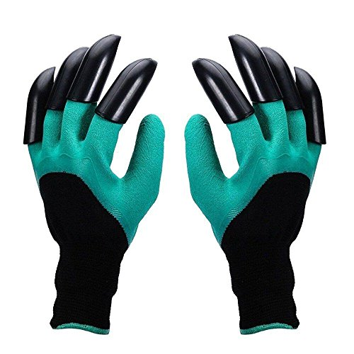 Makebw Unisex Garden Genie Gloves with Both Hand Sturdy Claws ,Quick & Easy to Dig & Plant Nursery Plants ,Safe for Rose Pruning,Composting,Cut Resistant Gloves- As Seen On TV (Both Hand Claw 1pair)