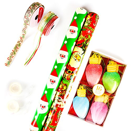 Christmas Wrapping Paper Premium Heavyweight Vintage Santa, Glitter Ornament Tags, Boutique Ribbons & Clear Tape Complete Gift Wrapping Bundle (22 items) (Santa with Light Colored Ornament Tags) Merry Hill Christmas Lights