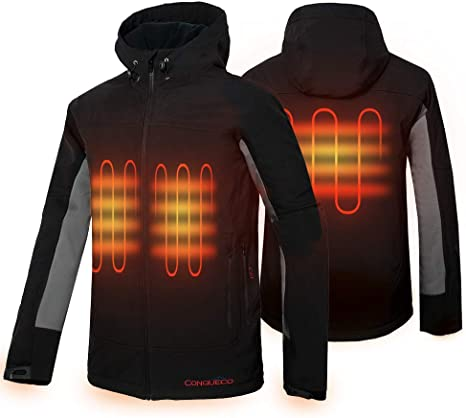 12 Volt Battery Heated Jacket Black Waterproof Windproof Cordless Rechargeable