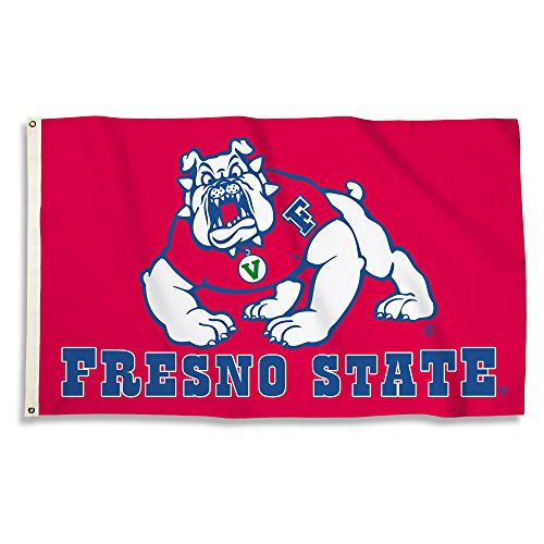 NCAA Fresno State Bulldogs Adult Flag with Grommets, 3' X 5', White - Fresno State Flag