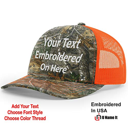 Custom Richardson 112 Hat with Your Text Embroidered Trucker Mesh Snapback Cap (Adjustable Snapback Realtree Colorway, Realtree Edge/Neon Orange)
