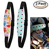 R • HORSE 2Pcs Infants and Baby Head Support Pram Stroller Safety Seat Fastening Belt Adjustable Head Support for Car Seat with Fluorescent Wristband