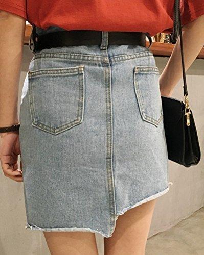 Mujer Retro Irregular Corto Falda De Mezclilla Mini Vaquera Faldas Zarco