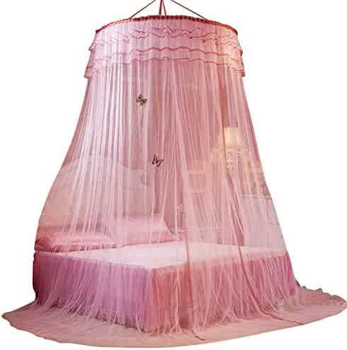 Round Hoop Princess Girl Pastoral Lace Bed Canopy Mosquito Net Fit Crib Twin Full Queen Extra large Bed Patgoal Patgoal Luxury Princess Pastoral Lace Bed Canopy Net Crib