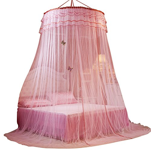 SINOTOP Round mosquito nets Luxury Princess Pastoral Lace Bed Canopy Net Crib Luminous butterfly - Pink Canopy Butterfly